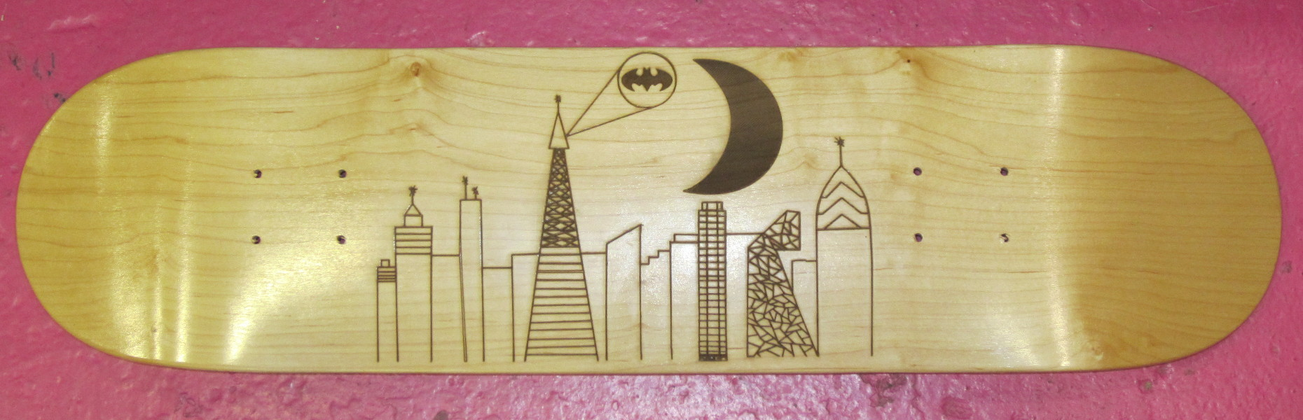 City Scape Laser Engraved Skateboard
