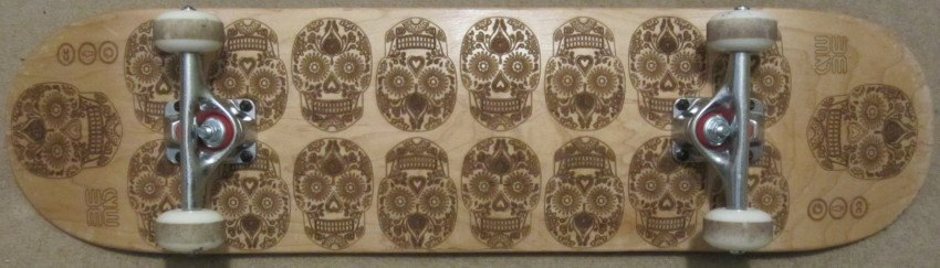 Sugar Skull Laser Engraved Skateboard Deck