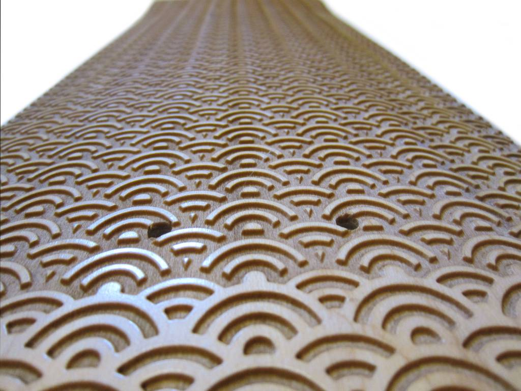 720 Japanese Water Laser Engraved Skateboard close-up