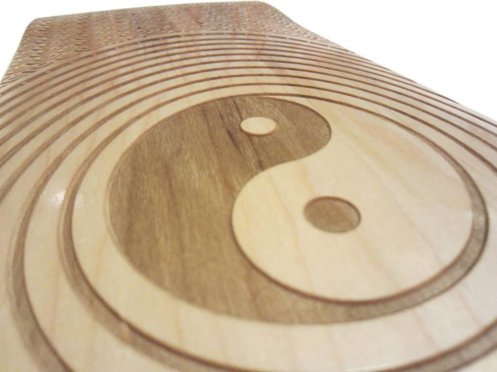720 Yin Yang Laser Engraved Skateboard Deck Close-up
