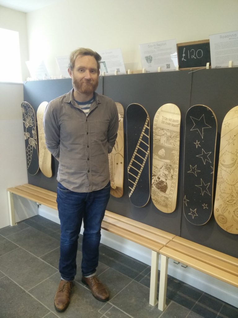 Gavin Repton with his Skateboard and griptape design